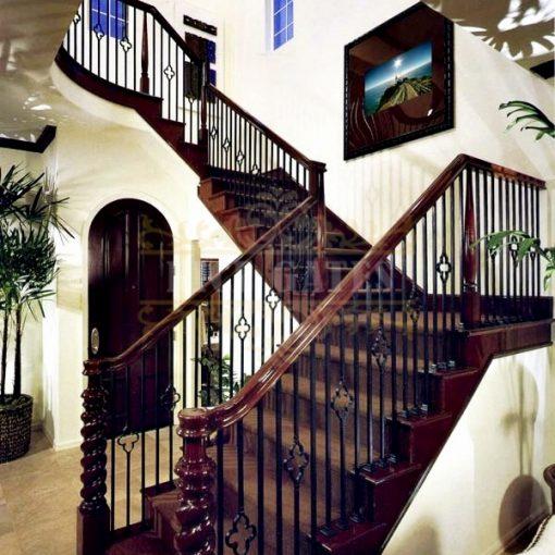 Cầu thang sắt tay vịn gỗ -ST014