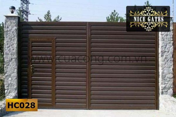Cửa cổng sắt hộp đơn giảnHC028